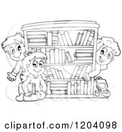 Cartoon Of Black And White Happy School Children Around A Book Shelf Royalty Free Vector Clipart