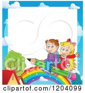 Cartoon Of A Cloud Border Of Happy School Children Flying On A Pencil Over A Rainbow And House Royalty Free Vector Clipart by visekart