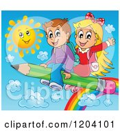 Cartoon Of Happy School Children Flying Over A Rainbow And Sun On A Pencil Royalty Free Vector Clipart by visekart