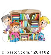 Cartoon Of Happy School Children Around A Book Shelf Royalty Free Vector Clipart