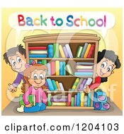 Cartoon Of Happy Back To School Children Around A Book Shelf Royalty Free Vector Clipart
