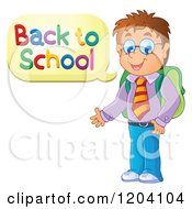 Cartoon Of A Happy Male Student Saying Back To School Royalty Free Vector Clipart by visekart