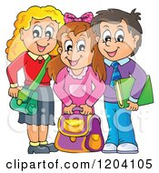 Cartoon Of Happy School Children With Their Bags Royalty Free Vector Clipart