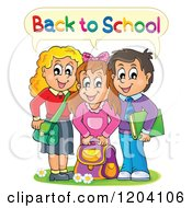Cartoon Of Happy Students Saying Back To School Royalty Free Vector Clipart by visekart