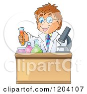 Cartoon Of A Smart Scientist Boy Experimenting With Chemicals Royalty Free Vector Clipart