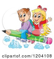 Cartoon Of Happy School Children Flying On A Pencil Royalty Free Vector Clipart