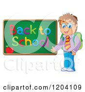 Cartoon Of A Happy Male Student Presenting A Back To School Chalkboard Royalty Free Vector Clipart