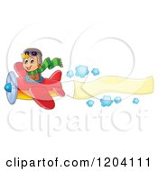Cartoon Of A Happy Boy Pilot Flying A Plane With A Banner Royalty Free Vector Clipart