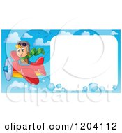 Cartoon Of A Happy Boy Pilot Flying A Plane With A Big Sign In The Sky Royalty Free Vector Clipart