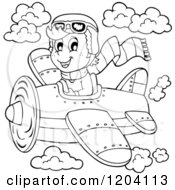 Cartoon Of A Black And White Happy Boy Pilot Flying A Plane Royalty Free Vector Clipart by visekart