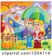 Cartoon Of A Happy Children Sheltered From Autumn Rain Under An Umbrella Royalty Free Vector Clipart