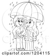 Cartoon Of A Happy Black And White Children Sheltered From The Rain Under An Umbrella Royalty Free Vector Clipart