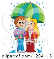 Cartoon Of A Happy Children Sheltered From The Rain Under An Umbrella Royalty Free Vector Clipart