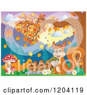 Cartoon Of A Happy Squirrel Holding An Acorn Under An Autumn Tree Royalty Free Vector Clipart by visekart
