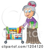 Happy Senior Librarian Woman Pushing A Book Cart