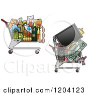 Clipart Of Shopping Carts Full Of Electronics And Groceries Royalty Free Vector Illustration
