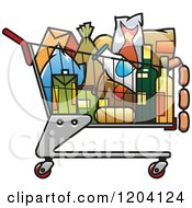 Full Grocery Cart Clipart Clipart Of A Shopping Cart