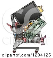 Clipart Of A Shopping Cart Full Of Electronics Royalty Free Vector Illustration