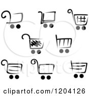 Clipart Of Black And White Shopping Cart Icons Royalty Free Vector Illustration