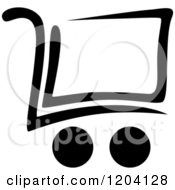 Clipart Of A Black And White Shopping Cart Icon 2 Royalty Free Vector Illustration