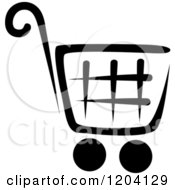 Clipart Of A Black And White Shopping Cart Icon 3 Royalty Free Vector Illustration