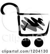 Clipart Of A Black And White Shopping Cart Icon 4 Royalty Free Vector Illustration