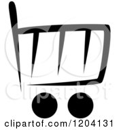 Clipart Of A Black And White Shopping Cart Icon 5 Royalty Free Vector Illustration