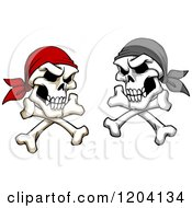 Clipart Of Broken Pirate Skulls With Bandanas And Crossed Bones Royalty Free Vector Illustration