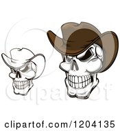 Clipart Of Grinning Cowboy Skulls With Hats Royalty Free Vector Illustration