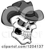 Poster, Art Print Of Grayscale Broken Cowboy Skull With A Hat