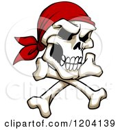 Clipart Of A Broken Pirate Skull With A Bandana And Crossed Bones Royalty Free Vector Illustration