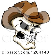 Clipart Of A Broken Cowboy Skull With A Brown Hat Royalty Free Vector Illustration by Vector Tradition SM