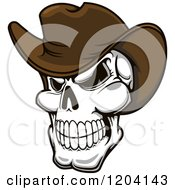 Clipart Of A Grinning Cowboy Skull With A Brown Hat Royalty Free Vector Illustration by Vector Tradition SM