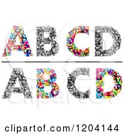 Clipart Of Colorful A B C And D Made Of Tiny Letters Royalty Free Vector Illustration
