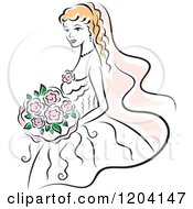 Clipart Of A Blond Bride With Pink Flowers 3 Royalty Free Vector Illustration
