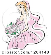 Clipart Of A Blond Bride In A Pink Dress Royalty Free Vector Illustration
