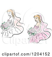 Clipart Of Brides And Bouquets 2 Royalty Free Vector Illustration