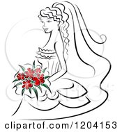 Clipart Of A Bride With Red Flowers Royalty Free Vector Illustration