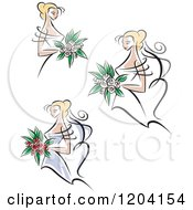 Clipart Of Brides And Bouquets Royalty Free Vector Illustration