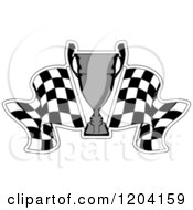 Clipart Of A Grayscale Motor Sports Trophy Cup And Checkered Racing Flags 6 Royalty Free Vector Illustration