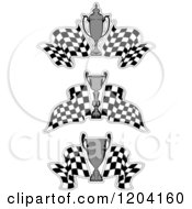 Clipart Of Grayscale Motor Sports Trophy Cups And Checkered Racing Flags 2 Royalty Free Vector Illustration
