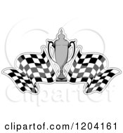 Clipart Of A Grayscale Motor Sports Trophy Cup And Checkered Racing Flags 4 Royalty Free Vector Illustration