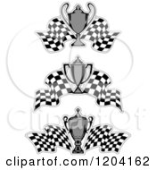 Clipart Of Grayscale Motor Sports Trophy Cups And Checkered Racing Flags Royalty Free Vector Illustration