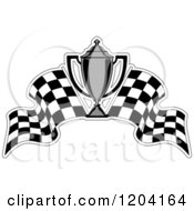 Clipart Of A Grayscale Motor Sports Trophy Cup And Checkered Racing Flags 2 Royalty Free Vector Illustration