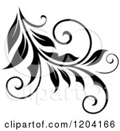 Clipart Of A Black And White Flourish Design 6 Royalty Free Vector Illustration