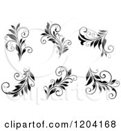 Clipart Of Black And White Flourish Designs Royalty Free Vector Illustration