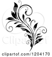 Clipart Of A Black And White Flourish Design 2 Royalty Free Vector Illustration