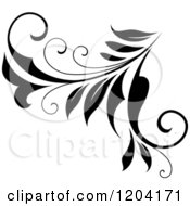 Clipart Of A Black And White Flourish Design 3 Royalty Free Vector Illustration