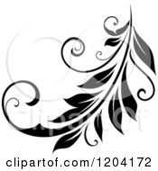 Clipart Of A Black And White Flourish Design 4 Royalty Free Vector Illustration
