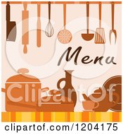 Clipart Of A Menu Cover Design With Utensils Pots And Dishes Royalty Free Vector Illustration by Vector Tradition SM